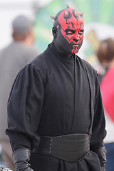 12 May 2018:  Star Wars Darth Maul during a Frontier League Baseball game between the Traverse City Beach Bums and the Normal CornBelters for Star Wars Night at Corn Crib Stadium on the campus of Heartland Community College in Normal Illinois
