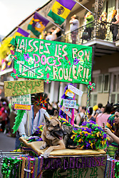 31 January 2016. New Orleans, Louisiana.<br /> Mardi Gras Dog Parade. German shepherd at the parade. The Mystic Krewe of Barkus winds its way around the French Quarter with dogs and their owners dressed up for this year's theme, 'From the Doghouse to the Whitehouse.' <br /> Photo©; Charlie Varley/varleypix.com