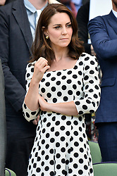 © Licensed to London News Pictures. 03/07/2017. London, UK. Photo credit: The DUCHESS OF CAMBRIDGE watches centre court tennis on the first day of the Wimbledon Lawn Tennis Championships. Photo credit: Ray Tang/LNP