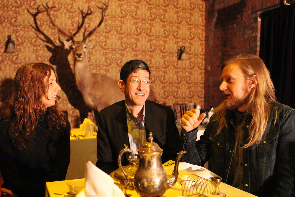 "Sleep No More is a new theater concept in Chelsea where the audience is guided through 90 rooms in an experiential tour that involves interpretative dancers and incredibly detailed sets. L-R Director and choreographer Maxine Doyle, producer Randy Weiner, and director and designer Felix Barrett in the ""restaurant"" space...CREDIT: Daniella Zalcman for The Wall Street Journal.SLUG: SLEEPNOMORE"