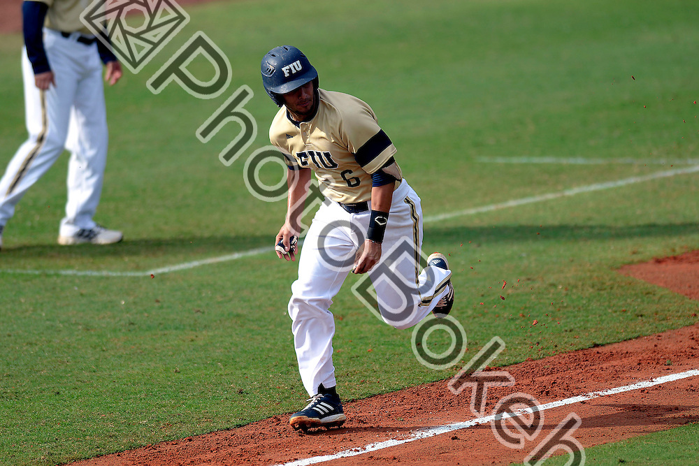 2015 February 28 - FIU's Eddie Silva (6). <br /> Florida International University defeated Manhattan, 17-0, at FIU Baseball Stadium, Miami, Florida. (Photo by: Alex J. Hernandez / photobokeh.com) This image is copyright by PhotoBokeh.com and may not be reproduced or retransmitted without express written consent of PhotoBokeh.com. &copy;2015 PhotoBokeh.com - All Rights Reserved