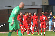 Trialist Luka Tankulic is congratulated after putting Dundee two ahead - Dundee v Manchester City  at Dens Park<br /> <br />  - &copy; David Young - www.davidyoungphoto.co.uk - email: davidyoungphoto@gmail.com