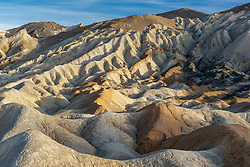 Eroded badlands and ravines, Twenty Mule Team Canyon, Death Valley National Park, California, USA