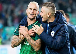 Aljaz Struna of Slovenia and Jasmin Kurtic of Slovenia celebrate after winning during football match between National teams of Slovenia and Slovakia in Round #2 of FIFA World Cup Russia 2018 qualifications in Group F, on October 8, 2016 in SRC Stozice, Ljubljana, Slovenia. Photo by Vid Ponikvar / Sportida