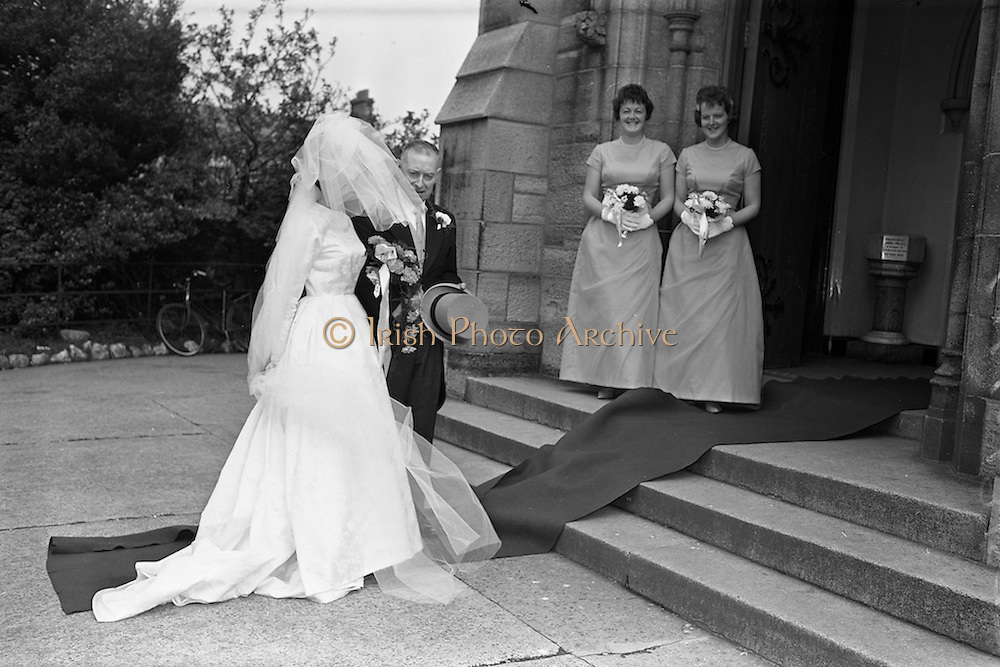 """05/09/1962<br /> 09/05/1962<br /> 05 September 1962<br /> Wedding of Fergus Keogh of """"Eagleville"""", Strandville Avenue, Clontarf, Dublin to Miss Miriam Caffrey, Church Avenue, Drumcondra Dublin at the Church of the Visitation of the BVM, Fairview with reception at St. Lawrence Hotel, Howth. Mr. keogh was full-back for Bective Rangers at the time. The bride entering the church."""