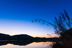 Devils River at twilight above Dolan Falls, Devils River, Texas