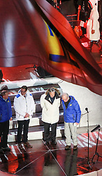 18.02.2015, Lugnet Ski Stadium, Falun, SWE, FIS Weltmeisterschaften Ski Nordisch, Falun 2015, Eröffnung, im Bild v.l. Vorsitzender des schwedischen Skiverbandes Mats Arjes, FIS Präsident Gian-Franco Kasper, König Carl XVI. Gustaf von Schweden // Mats Arjes Chairman of Swedish Ski Association ( R ) President of the International Ski Federation (FIS) Gian- Franco Kasper ( C ) King Carl XVI Gustaf of Sweden ( L ) during the Opening Ceremony of the FIS Nordic Ski World Championships 2015 at the Lugnet Ski Stadium in Falun, Sweden on 2015/02/18. EXPA Pictures © 2015, PhotoCredit: EXPA/ JFK