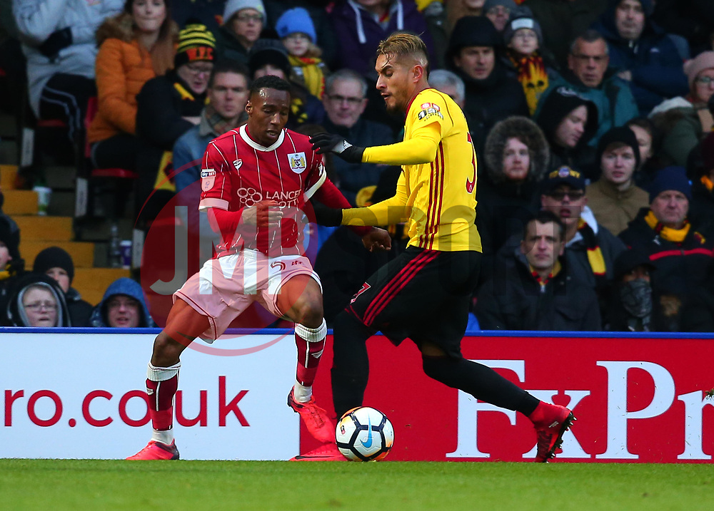 Opi Edwards of Bristol City takes on Roberto Pereyra of Watford - Mandatory by-line: Robbie Stephenson/JMP - 06/01/2018 - FOOTBALL - Vicarage Road - Watford, England - Watford v Bristol City - Emirates FA Cup third round proper