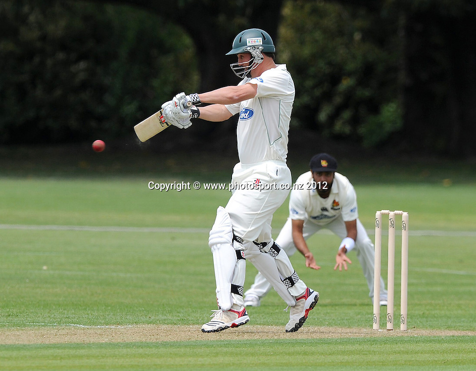 Central Stag's Mathew Sinclair plays a shot in the Plunket Shield Cricket match, Central Stags vs Wellington Firebirds, Nelson Park, Napier, New Zealand. Sunday 28 October 2012. Photo: Kerry Marshall / photosport.co.nz