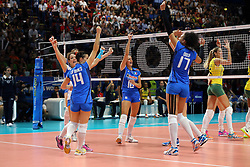 TEAM ITALY CELEBRATE<br /> ITALY - BRASIL <br /> VOLLEYBALL WOMEN'S WORLD CHAMPIONSHIP 2014<br /> MILAN (ITA) 12-10-2014<br /> PHOTO BY FILIPPO RUBIN