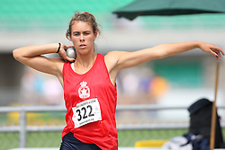 (Sherbrooke, Quebec---10 August 2008) Rita Rudell competing in the heptathlon shot put at the 2008 Canadian National Youth and Royal Canadian Legion Track and Field Championships in Sherbrooke, Quebec. The photograph is copyright Sean Burges/Mundo Sport Images, 2008. More information can be found at www.msievents.com.