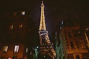 Eiffel Tower sparkling at night