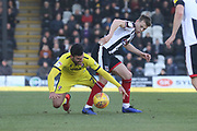 - Conor Thomas and Jake Hessenthaler   during the EFL Sky Bet League 2 match between Grimsby Town FC and Cheltenham Town at Blundell Park, Grimsby, United Kingdom on 16 February 2019.