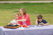 Erin Marshal sits at a picnic table with her children on Wednesday, April 20, 2016, in Rogers, Arkansas.<br /> <br /> Photo by Beth Hall