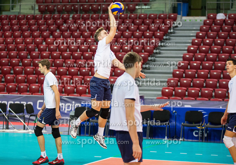 Jani Kovacic #13 of Slovenia during practice session of Slovenian National Volleyball team in the morning before Semifinal match against Italy at 2015 CEV Volleyball European Championship - Men, on October 17, 2015 in Arena Armeec, Sofia, Bulgaria. Photo by Vid Ponikvar / Sportida
