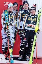 16.03.2018, Aare, SWE, FIS Weltcup Ski Alpin, Finale, Aare, Teambewerb, Siegerehrung, im Bild Team Deutschland (3. Platz) v.l. Lena Duerr, Alexander Schmid, Linus Strasser und Marina Wallner // third placed Team Germany f.l. Lena Duerr Alexander Schmid Linus Strasser und Marina Wallner during the winner Ceremony for the team event of FIS Ski Alpine World Cup finals in Aare, Sweden on 2018/03/16. EXPA Pictures © 2018, PhotoCredit: EXPA/ Johann Groder