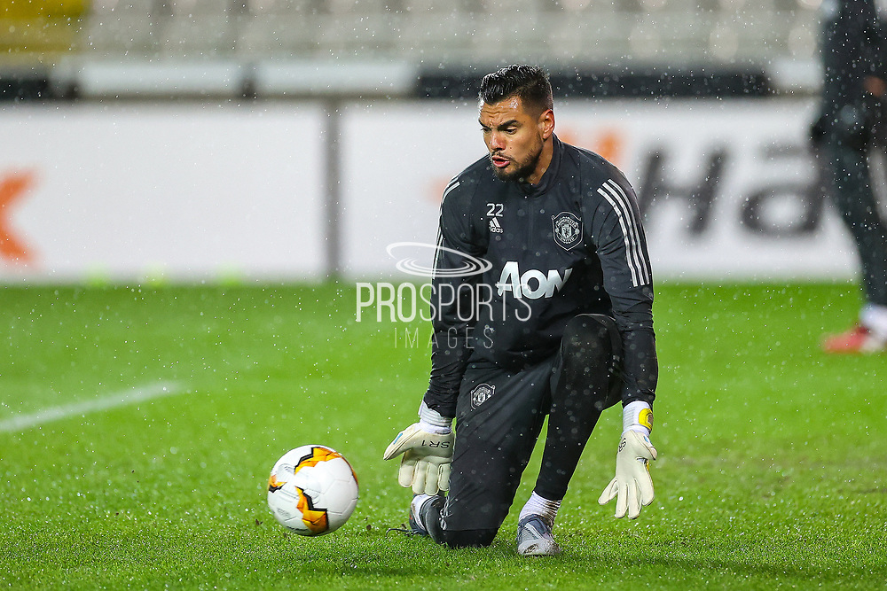 Manchester United goalkeeper Sergio Romero (22) warms up during the Europa League match between Club Brugge and Manchester United at Jan Breydel Stadion, Brugge, Belguim on 20 February 2020.