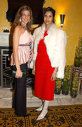 Left to right, MICHELLE BAROUH and PADMA LAKSHMI wife of Salman Rushdie at a party to celebrate the launch of Michelle Watches held at the Blue Bar, The Berkeley Hotel, London on 7th October 2004.<br /><br />NON EXCLUSIVE - WORLD RIGHTS