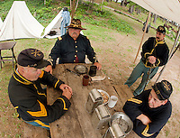 (Karen Bobotas/for the Laconia Daily Sun)Ist NH Cavalry Civil War Encampment at the Veterans Association compound in Weirs Beach, NH August 14, 2011.
