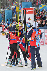March 16, 2019 - –Stersund, Sweden - 190316 Synnøve Solemdal, Ingrid Landmark Tandrevold, Tiril Eckhoff and Marte Olsbu Røiseland of Norway celebrate after the Women's 4x6 km Relay during the IBU World Championships Biathlon on March 16, 2019 in Östersund..Photo: Petter Arvidson / BILDBYRÃ…N / kod PA / 92268 (Credit Image: © Petter Arvidson/Bildbyran via ZUMA Press)
