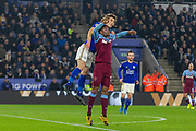 Caglar Soyuncu (4) wins a header during the Premier League match between Leicester City and West Ham United at the King Power Stadium, Leicester, England on 22 January 2020.