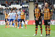 Hull City forward Fraizer Campbell (25) and Hull City midfielder Kamil Grosicki (14) form a two man wall during the EFL Sky Bet Championship match between Hull City and Reading at the KCOM Stadium, Kingston upon Hull, England on 6 April 2019.