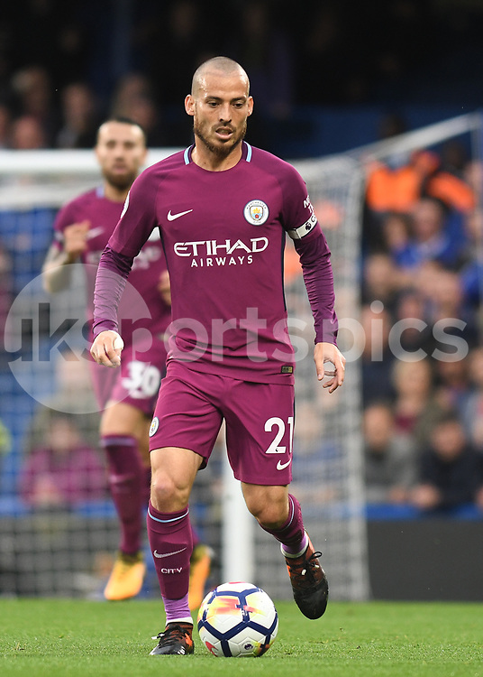 David Silva of Manchester City in action during the Premier League match between Chelsea and Manchester City at Stamford Bridge, London, England on 30 September 2017. Photo by Vince Mignott.