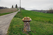 remnant of monument in a rural landscape France Razes