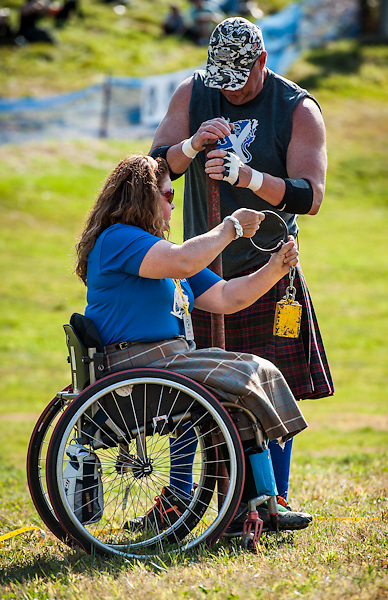 Athlete from the New England Disabled Sports competes at the New Hampshire Highland Games, Loon Mountain Resort, Lincoln, New Hampshire. All Content is Copyright of Kathie Fife Photography. Downloading, copying and using images without permission is a violation of Copyright.