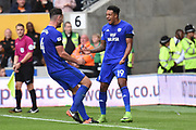Cardiff City midfielder Nathaniel Mendez-Laing (19) scores a goal 1-2 and celebrates during the EFL Sky Bet Championship match between Wolverhampton Wanderers and Cardiff City at Molineux, Wolverhampton, England on 19 August 2017. Photo by Alan Franklin.