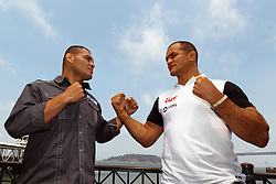 SAN FRANCISCO, CA - JULY 29: Cain Velasquez (left) and Junior dos Santos (right) square off during a UFC press tour event on July 29, 2013 in San Francisco, California.  (Photo by Jason O. Watson/Zuffa LLC via Getty Images) *** Local Caption ***