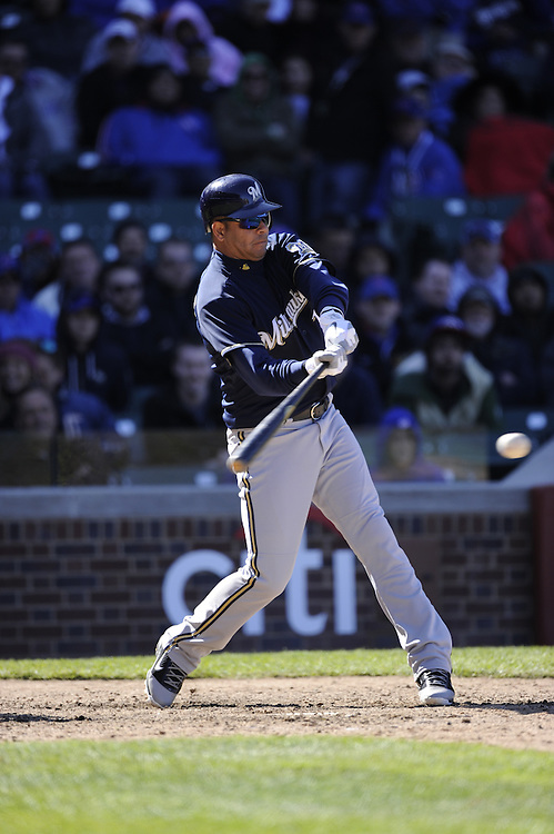 CHICAGO - APRIL  11:  Aramis Ramirez #16 of the Milwaukee Brewers bats against the Chicago Cubs on April 11, 2012 at Wrigley Field in Chicago, Illinois.  The Brewers defeated the Cubs 2-1.  (Photo by Ron Vesely)   Subject:  Aramis Ramirez