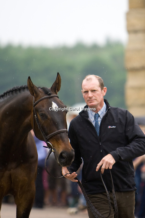 Gary Parsonage and Fernhill O Dea at the vet inspection  Bramham Horse Trials 2010