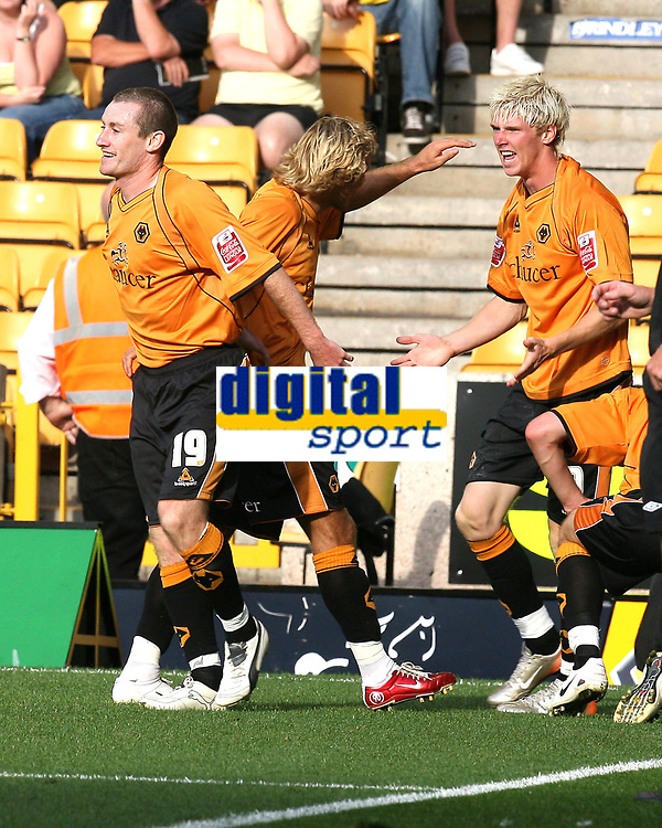 Photo: Paul Greenwood. <br />Wolverhampton Wanderers v Watford. Coca Cola Championship. 11/08/2007. <br />Wolves Michael Gray, (C) celebrates with team mate Andy Keogh (R)