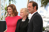 Actress Chiara Mastroianni, Director  Claire Denis and Actor Vincent Lindon at Les Salauds film photocall Cannes Film Festival on Wednesday 22nd May 2013