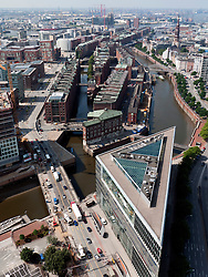 Cityscape of historic Speicherstadt and  Hafencity new urban redevelopment in Hamburg Germany
