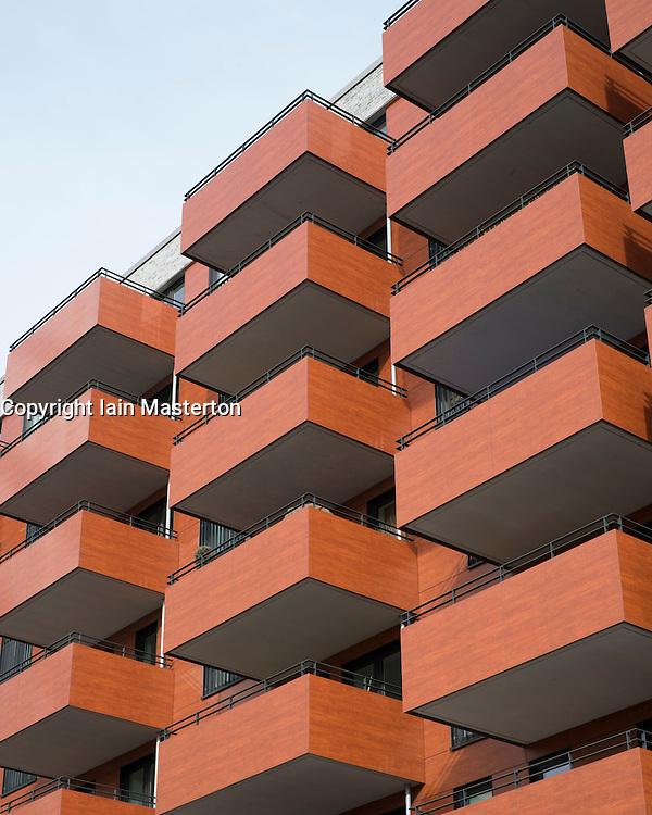 External view of modern upmarket apartment buildin in Hafen City property development in Hamburg Germany