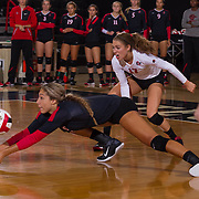 27 August 2016: The San Diego State Aztecs took on the Michigan State Spartans in game two of the Aztec Invitational at Peterson Gym on the campus of SDSU. PH Alexis Cage (18) digs out a set in the third set. The Aztecs lost 3-1 to the Spartans. www.sdsuaztecphotos.com
