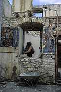 Albania. Rebirth of Christianism after the collapse of the communist regime. Berat. religious painting remaining in the ruins of the destroyed church of Saint Eloy ; destroyed by the communist regime in Berat,  /  il subsiste encore quelques fresques religieuses dans  l'église St Eloi détruite par communistes.  Berat  Albanie
