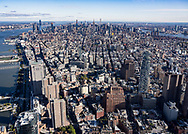 View of Manhattan from the top of One World Trade Center in New York City.
