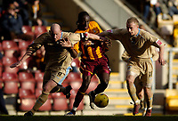 Photo: Jed Wee.<br />Bradford City v Bristol City. Coca Cola League 1. 18/02/2006.<br />Bristol's Steve Brooker (L) and Dave Cotterill (R) try to keep Bradford's Damion Stewart away from the ball.