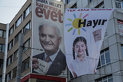 April 13, 2017 - Istanbul, Turkey - A banner showing Turkish Prime Minister Binali Yildirim advertising for the 'yes' vote in the April 16 referendum in Istanbul, Turkey, on 13 April 2017. The Turkish public will vote on April 16, 2017 on whether to change the current parliamentary system into an executive presidency. (Credit Image: © Erhan Demirtas/NurPhoto via ZUMA Press)