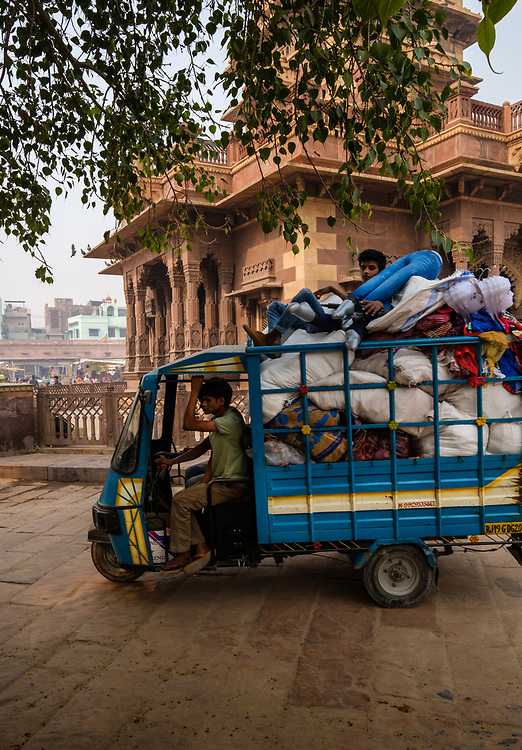 JODHPUR, INDIA - CIRCA NOVEMBER 2016:  Typical cargo motorbike around the clock tower in Jodhpur.