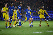 Peterborough United forward Jason Cummings (35) misses this chance during the EFL Sky Bet League 1 match between Peterborough United and Oxford United at London Road, Peterborough, England on 8 December 2018.