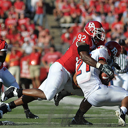 Sept 1, 2008; Piscataway, NJ, USA; Fresno State running back Ryan Mathews (21) is tackled by Rutgers defensive end Gary Watts during the second quarter of Fresno State's 24-7 victory over the Rutgers Scarlet Knights at Rutgers Stadium.
