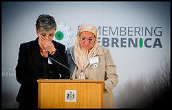 Image ©Licensed to i-Images Picture Agency. 08/07/2014. London, United Kingdom. Mejra Duguz (right) a mother of Srebrenica speaks at the Srebrenica Memorial Reception at Lancaster House. Picture by Andrew Parsons / i-Images