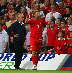 CARDIFF, WALES - Wednesday, September 8, 2004: Wales' Robbie Savage looks dejected after being sent off against Northern Ireland during the Group Six World Cup Qualifier at the Millennium Stadium. (Pic by David Rawcliffe/Propaganda)