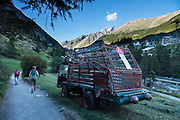 Hay truck. From Zermatt, hike the scenic Höhbalmen Höhenweg loop via Bergrestaurant Edelweiss, Trift Hut and Zmutt, in the Pennine Alps, Switzerland, Europe. With delightful views of the Matterhorn plus other peaks and glaciers, this strenuous walk went up and down 1200 meters over 21.6 km (13.4 miles).