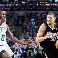 30 January 2013: Sacramento Kings shooting guard Francisco Garcia (32) drives past Boston Celtics power forward Jeff Green (8) during the Boston Celtics 99-81 victory over the Sacramento Kings at the TD Garden, Boston, Massachusetts, USA.