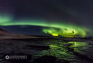 Aurora borealis over Geysir in southwest Iceland